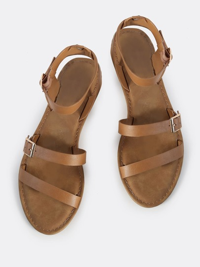 Shield Thong Sandal Flats TAN