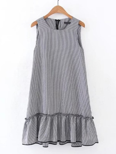 Drop Waist Frill Trim Tie Back Grid Dress