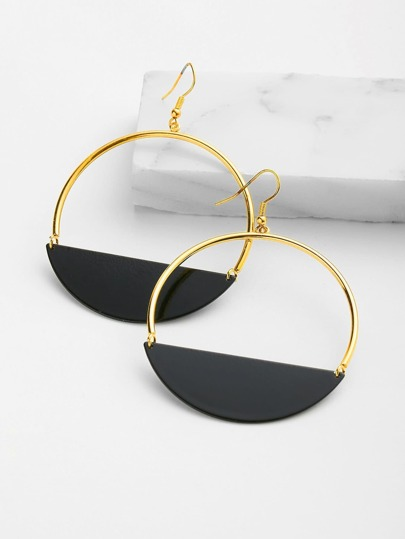 Contrast Geometric Drop Earrings