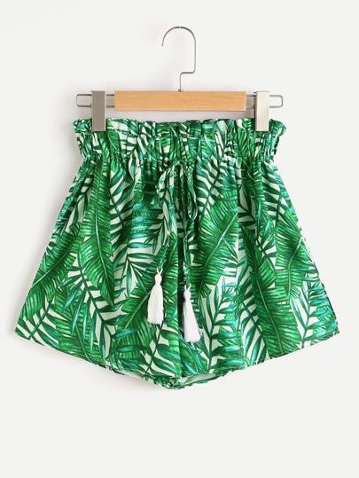 Shorts con estampado y flecos