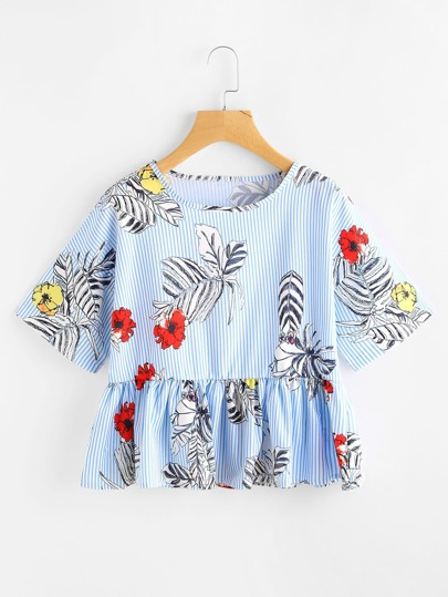 Vertical Striped Jungle Print Frill Hem Blouse