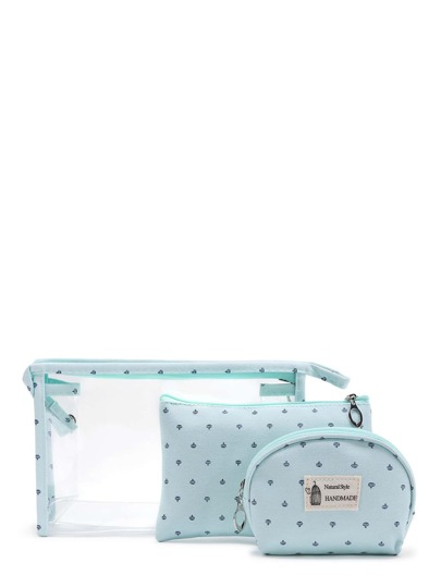 Crown Print Makeup Bag 3pcs