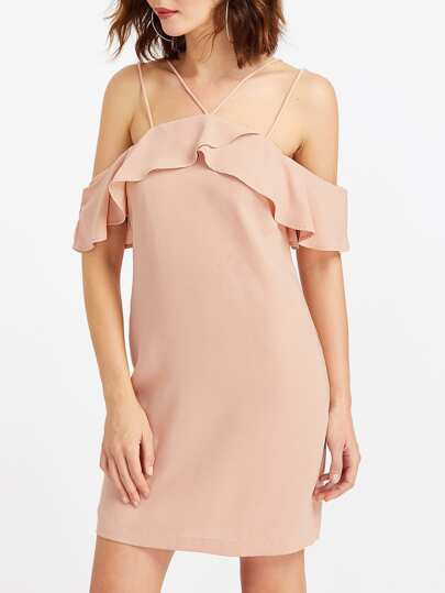 Double Strap Frill Cold Shoulder Dress