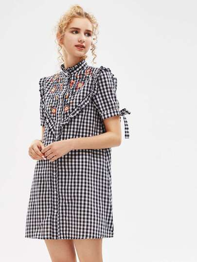 Embroidered Yoke Frilled Tie Sleeve Gingham Shirt Dress