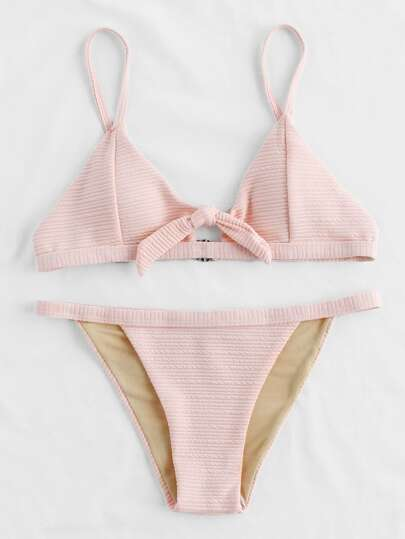 Knot Front Thin Strap Textured Bikini Set