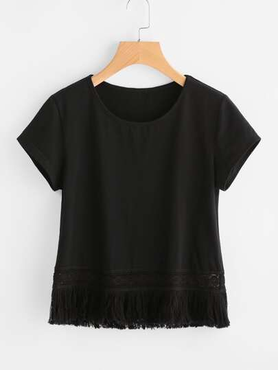 Fringe Lace Trim T-shirt