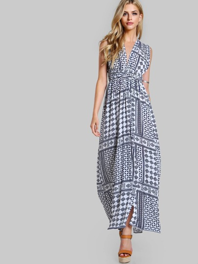 Self Tie Split Maxi Dress WHITE NAVY