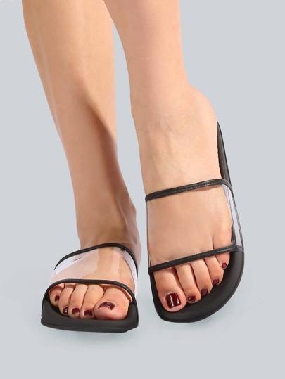 Clear Slip On Slides BLACK