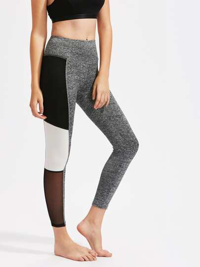 Leggins de punto de malla en color block