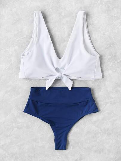 Mix & Match Tankini Set mit Knoten vorne