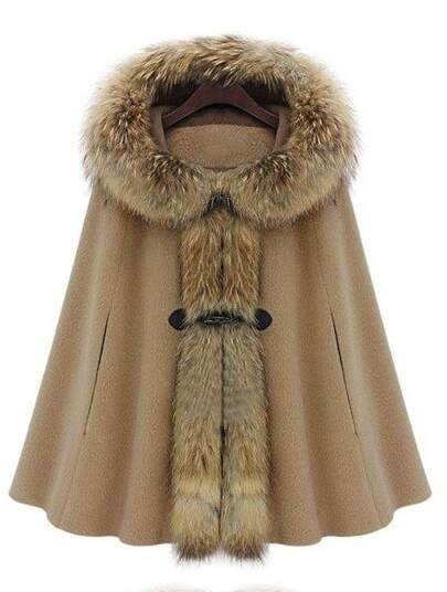 Camel Fur Hooded Buckle Ruffles Cape Coat