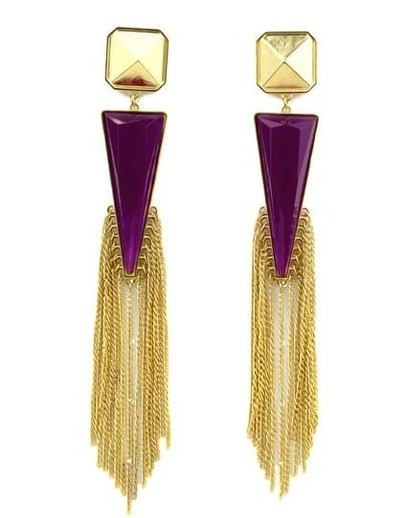 Purple Rhinestone Colour Tassel Triangle Earrings