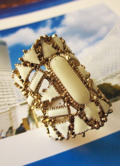 White Hollow Out Bangle Bracelet
