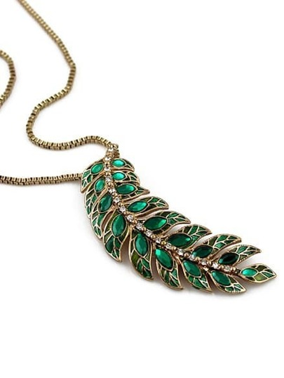 Green Gemstone Gold Leaf Necklace