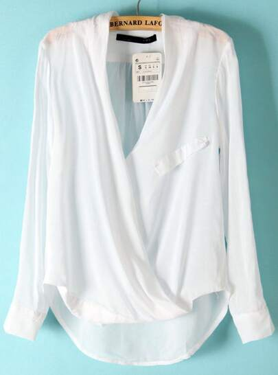 White Long Sleeve Front Cross Dipped Hem Blouse