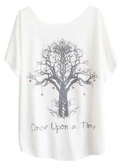 White Batwing Short Sleeve Wishing Tree Print T-Shirt