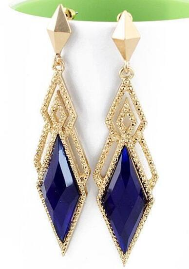 Blue Gemstone Hollow Earrings