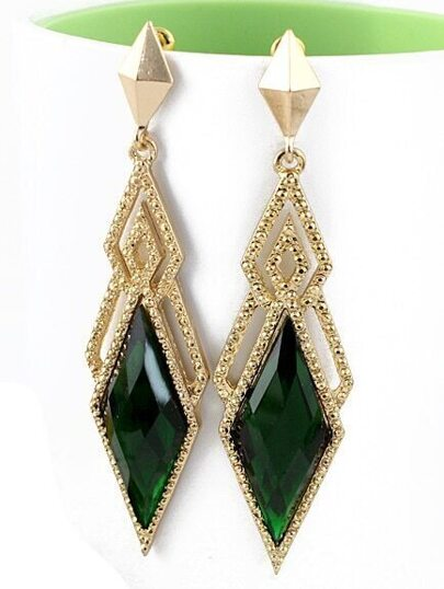 Green Gemstone Gold Hollow Geometric Earrings