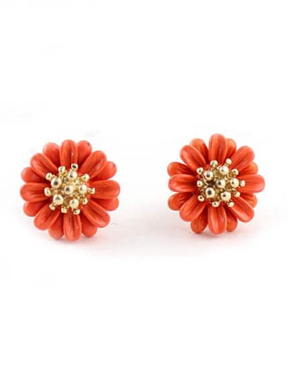 Red Bead Flower Stud Earrings