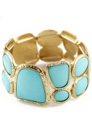 Blue Gemstone Gold Geometric Splice Bracelet