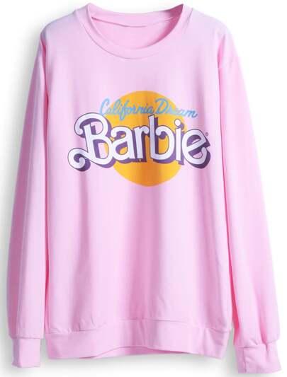 Pink Long Sleeve Barbie Print Casual Sweatshirt