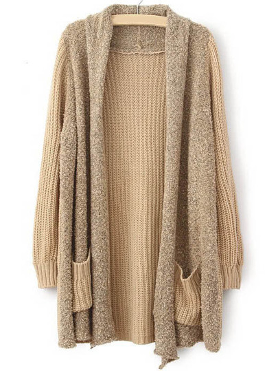 Khaki Long Sleeve Pockets Loose Cardigan Sweater