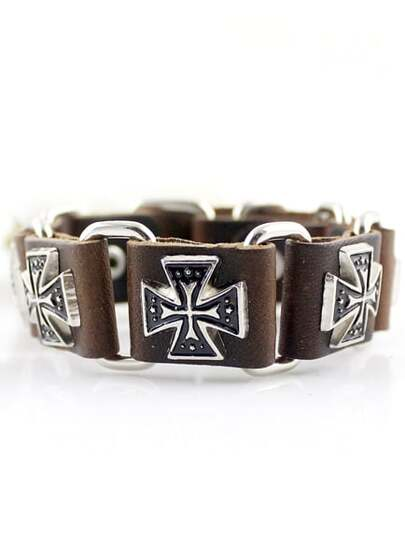 Brown Cross Leather Bracelet