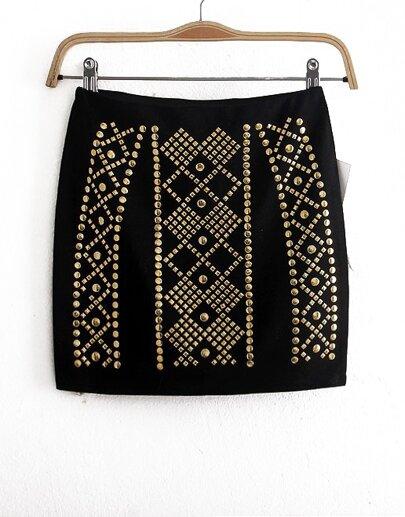 Black Rivet Bodycon Skirt