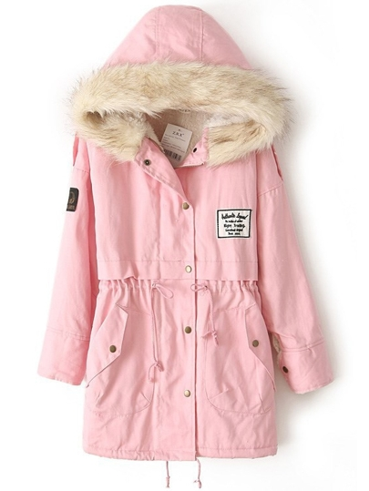 Pink Faux Fur Hooded Zipper Embellished Fleece Inside Military Coat