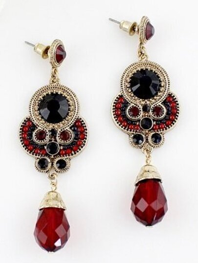 Red Black Gemstone Gold Vintage Earrings