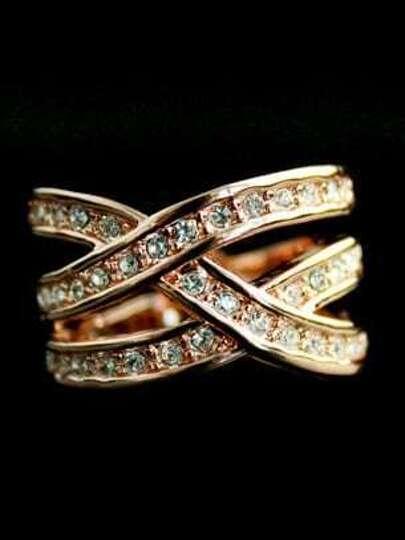 Gold Crystal Cross Ring