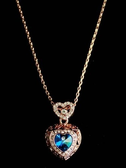 Blue Gemstone Gold Heart Chain Necklace