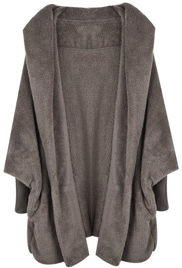 Abrigo suelto con capucha manga larga muriciélago-Kaki