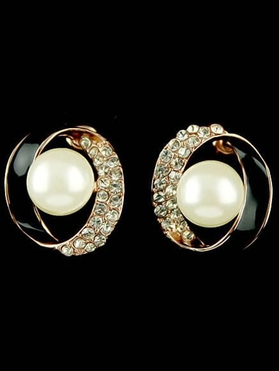 Gold Pearl Diamond Circle Earrings