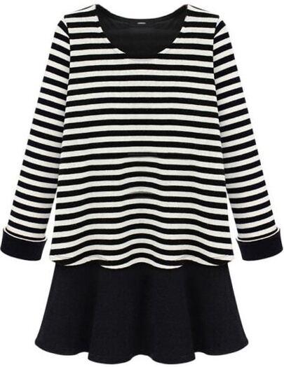 Black White Striped Long Sleeve Ruffles Dress