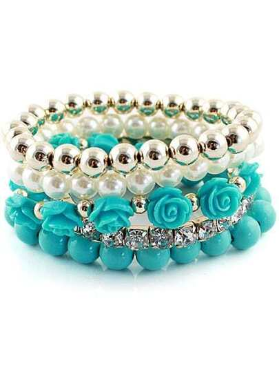 Blue Gold Multilayer Bead Flower Bracelet