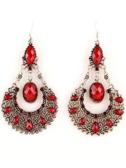 Red Gemstone Retro Silver Hollow Dangle Earrings