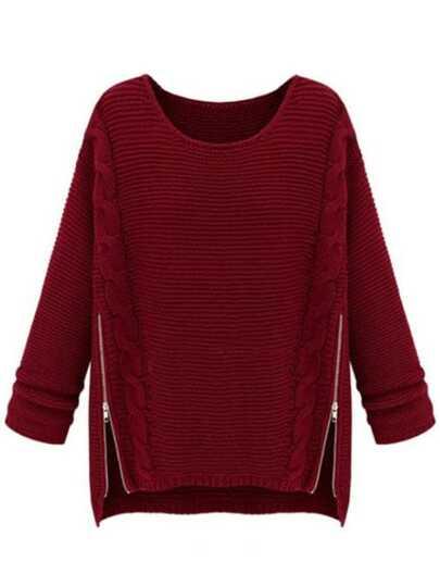 Pull-over en tricot câble et côté zippé -Vineux