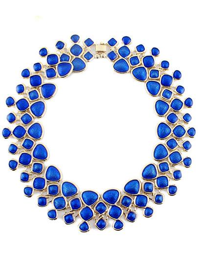 Collar geométrico dorado piedra azul