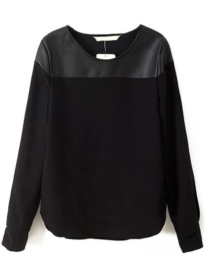 Black Long Sleeve Contrast PU Blouse