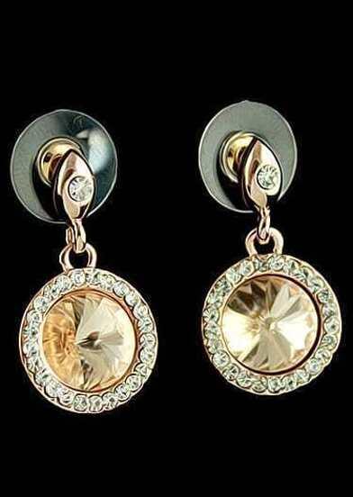 Yellow Gemstone Gold Round Stud Earrings