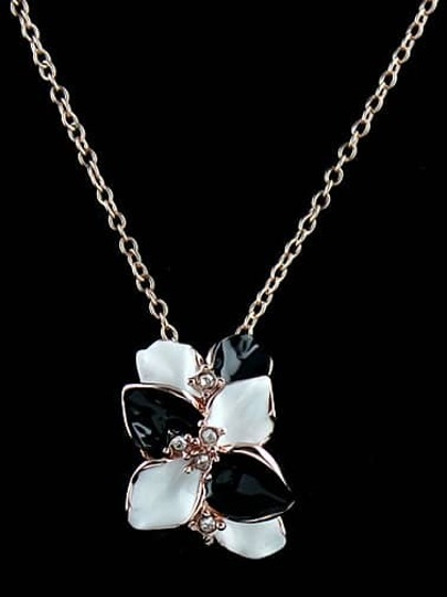 Black White Glaze Silver Flower Chain Necklace