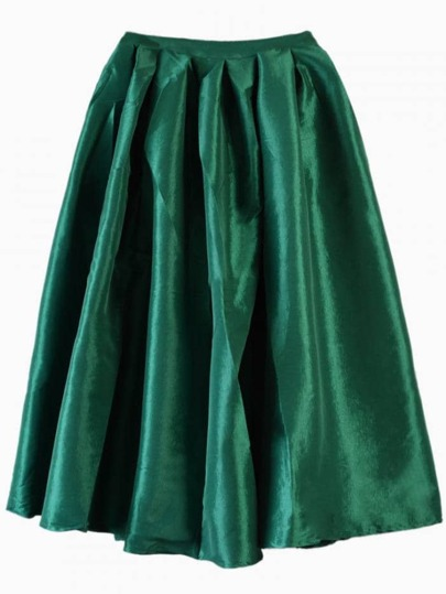 Dark Green Flare Pleated Midi Skirt