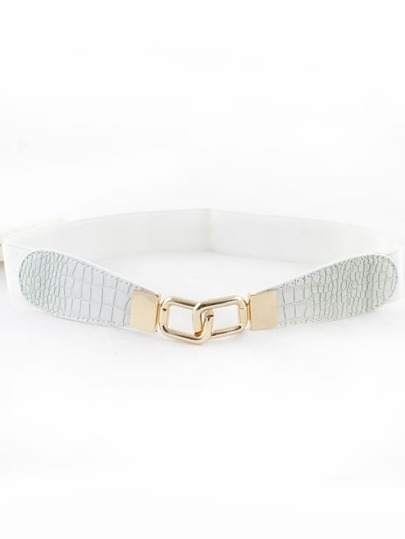 White Snakeskin Metal Buckle Belt