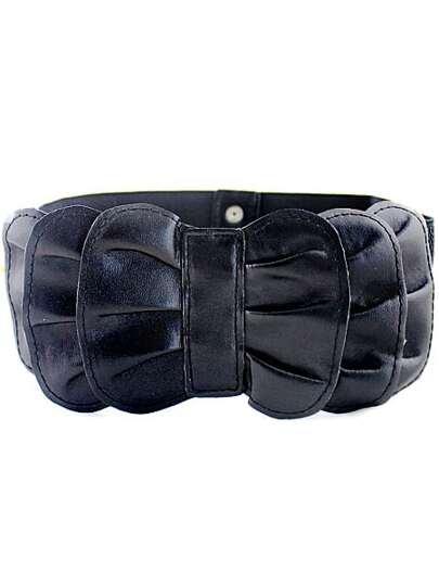 Black Multilayers Bow Elastic Wide Belt