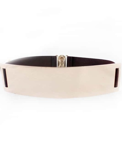 Coffee Elastic Contrast Metal Wide Belt
