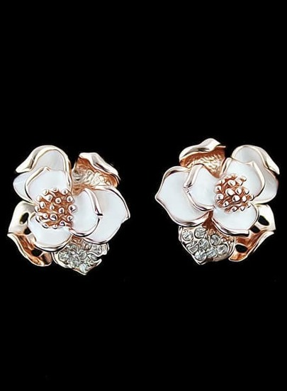 Gold Diamond Flower Stud Earrings
