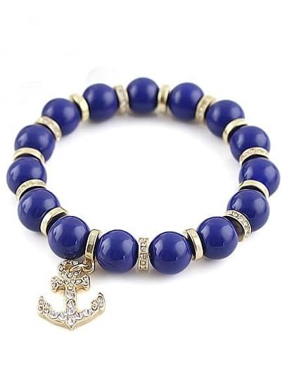 Blue Bead Gold Anchors Bracelet