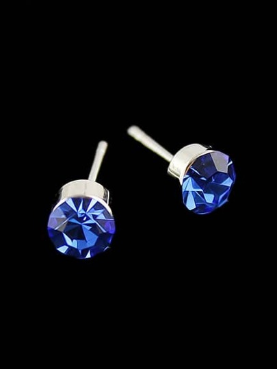 Blue Diamond Silver Stud Earrings