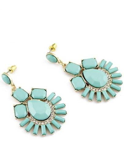 Green Gemstone Gold Diamond Earrings